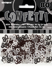 Black Glitz 80th Birthday Party Confetti 14g